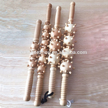 Full Body Muscle Relaxation wooden stick back massage roller with Trigger Point Balls
