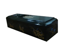 Plywood meterial with flower painting Japanese style Coffin type casket, Adult Application