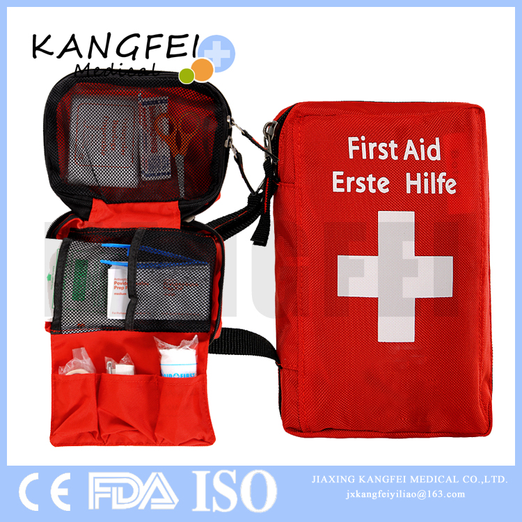 2017 New arrivals KF57 Small Size Red Nylon Emergency Survival First Aid Kit fda certificate first aid bag