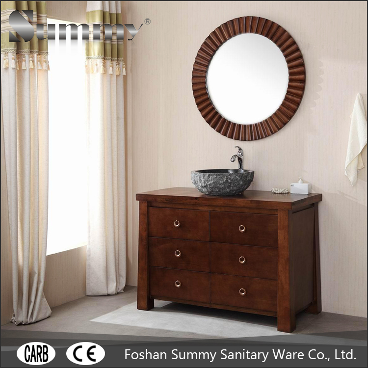 Hotel motel furniture of american style bathroom cabinets vanity with round shape wall mirror SV15392
