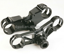 cnc machining black anodized aluminum triple clamp as chinese motorcycle spare parts