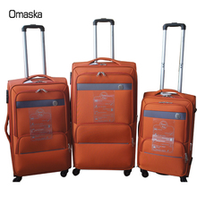Orange Color EVA 1680D Waterproof Material China Alibaba Wholesale Disacount Travel Luggage Bags
