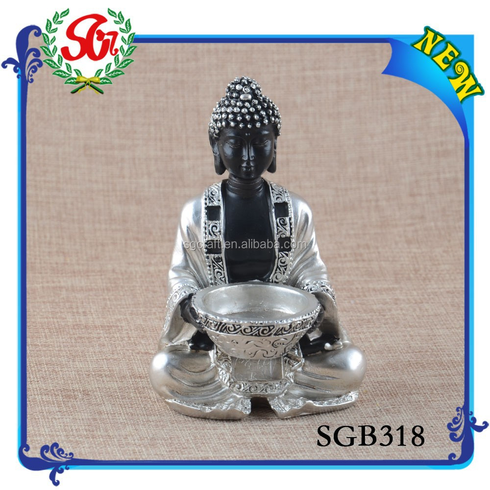 SGB318 2016New Custom buddha Top Quality Silver And Black Buddha Statue