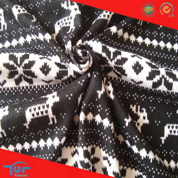 Black Knit Fabric Animal Pattern Knitted Jersey Design