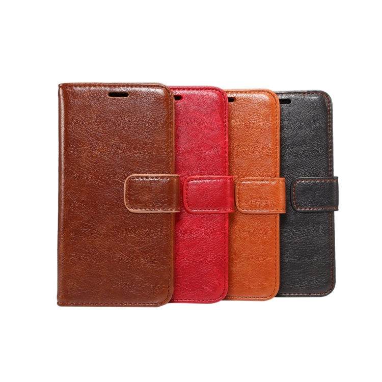 IN STOCK For iPhone X Crazy Horse Texture PU + TPU Horizontal Flip Leather Case