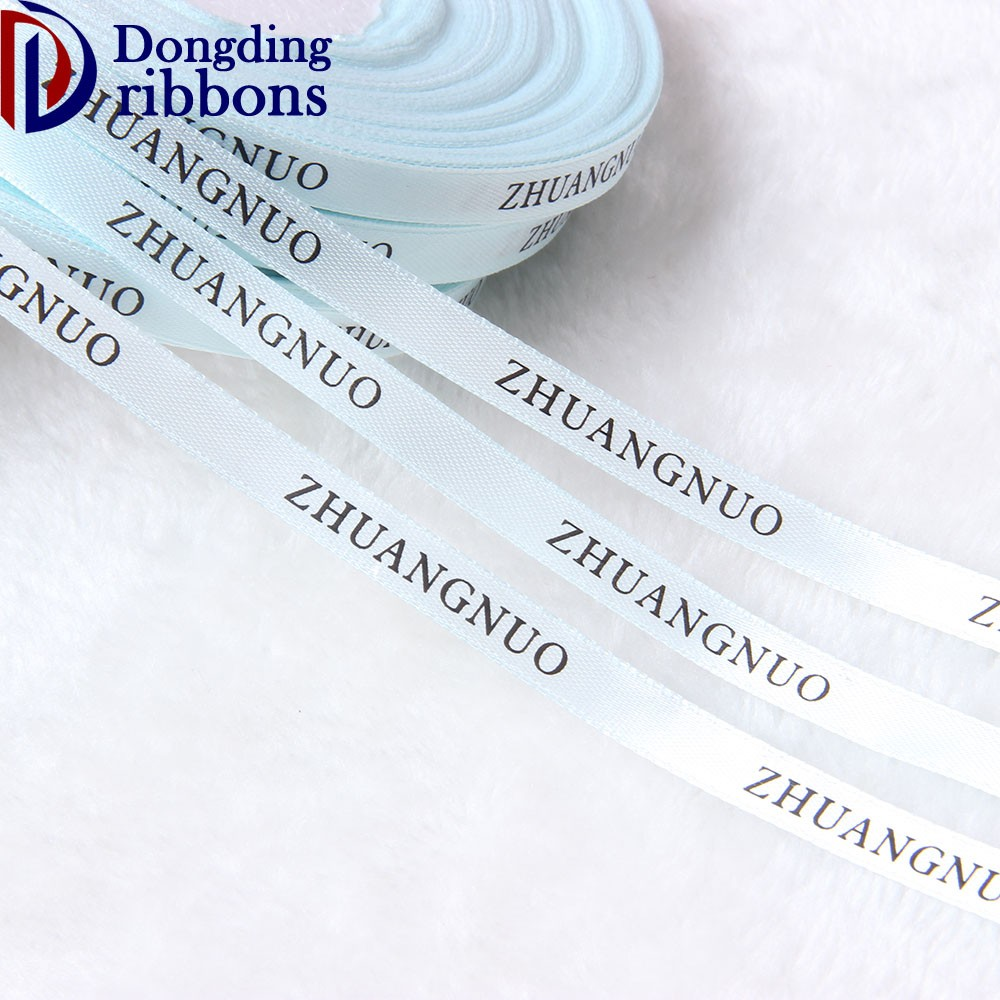 New arrival low price wholesale 1cm turquoise blue single side printed logo on satin ribbon