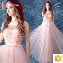 Pink Tulle Round Neckline Lace Trim Real Sample New Evening Dress