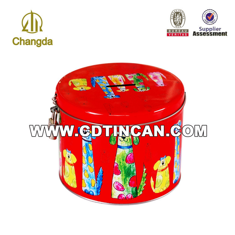 Newest factory price round tin coin bank with lock