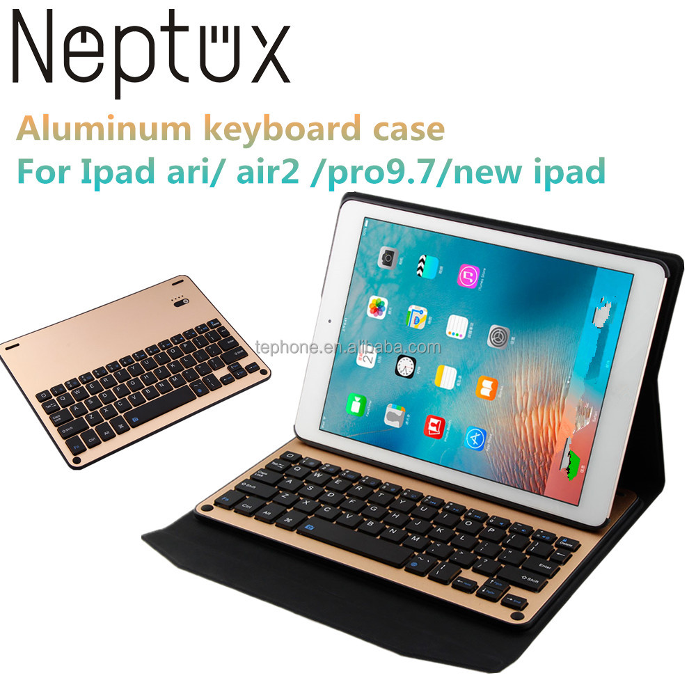 Ultra-thin Aluminmu Detachable Bluetooth Keyboard Leather Portfolio Case For Ipad pro 9.7 inch