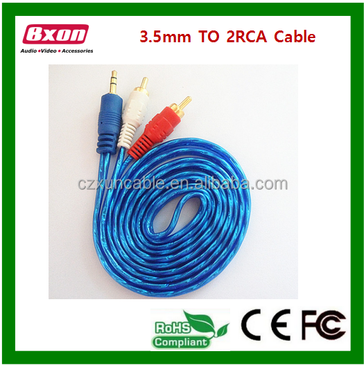 3.5-2rca <strong>speaker</strong> audio cable 3.5mm male to 2RCA male