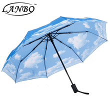 colorful funny japanese folding umbrella with blue sky white cloud photo print