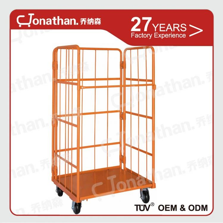 Roll containerA OEM available metal storage cages with 4 wheels