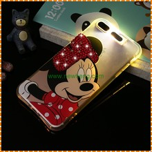Hot Sell Cartoon diamond Incoming call flash light transparent case For Iphone 7 plus
