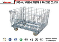 Alibaba Wholesale Metal Cage Rolling Wheel Steel Storage Box Pallet