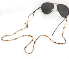 GL305 women fancy handmade beaded gold cross eyeglass chains