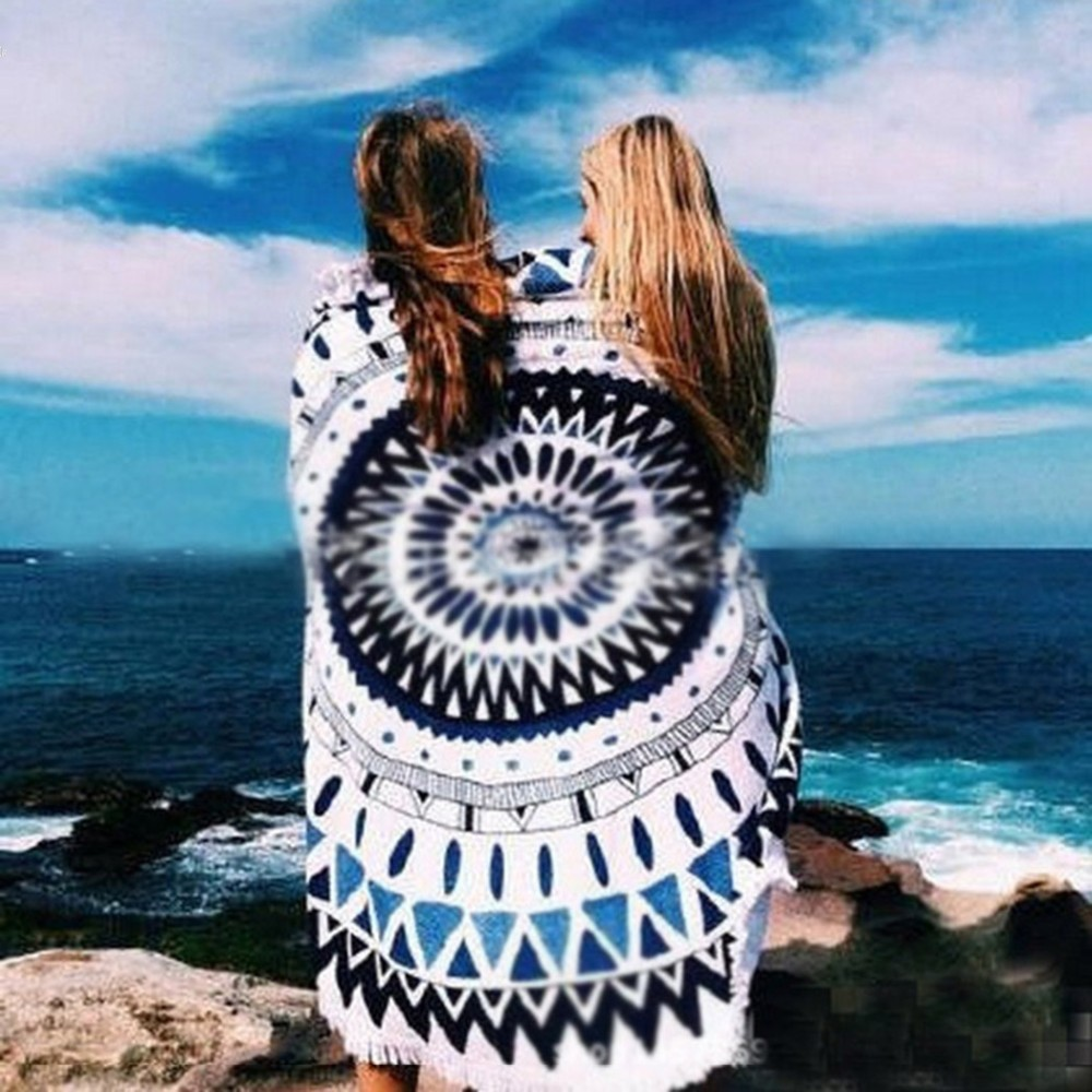 Summer Women Round Print Beach Towel Fringed Tassels Shawl Yoga Mat Multifunctional