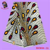 Gzmadison African super hollandais wax 6 yards soft cotton wax print fabric with peacock tail pattern /ISCW44-1