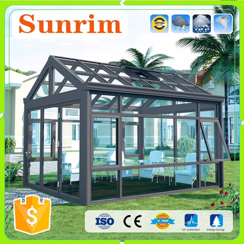 Fashionable design customized size security glass aluminum sunroom roof