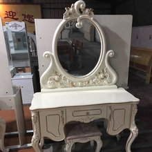 antique wooden dressing table with mirror and stool