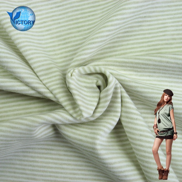 100% Cotton Double Sided Yarn Dyed Stripe Interlock Fabric Textile