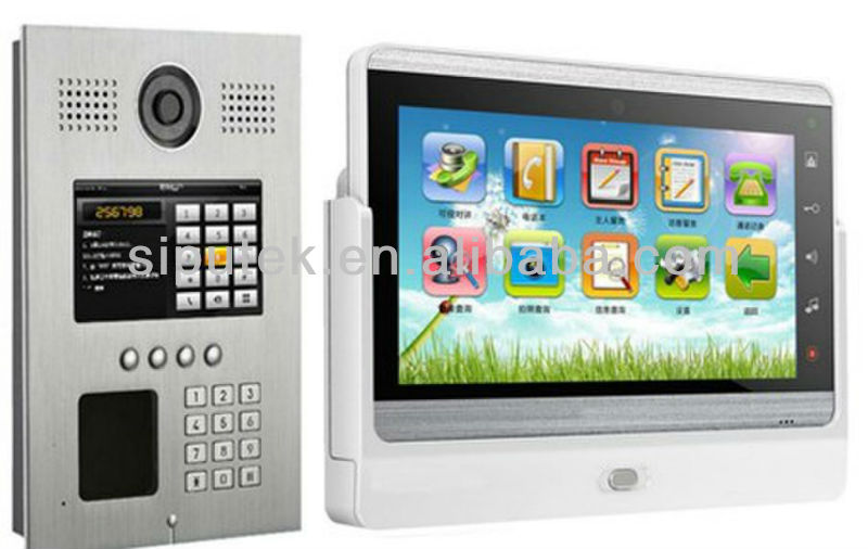 "TCP/IP Android 7"" TFT-LCD color touch screen video door phone with memory remote control unlocking function"