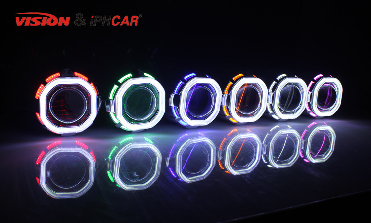 VISION & IPHCAR double COB angel eyes mini hid xenon projector lens