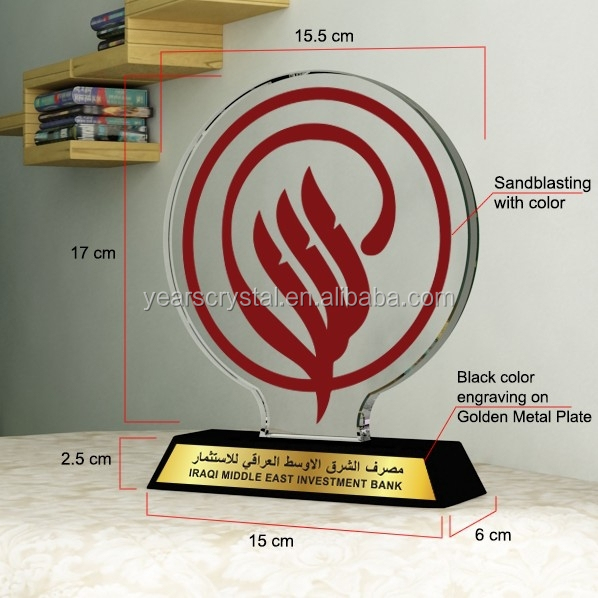Yiwu years crystal factory shield crystal plaque trophy in Dubai Transactions (R-2343