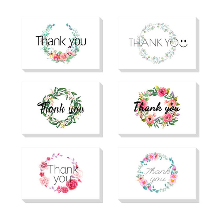 Factory Custom 36pcs 48pcs 100pcs wholesale elegant gold foil thank you cards pack with envelopes