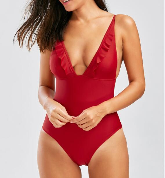 STOCK Red V-NECK Plunge Ruffle Sexy Lady One Piece High Cut Swimwear