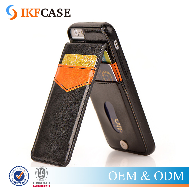 Wholesale Crazy Horse Skin Flip Cover Genuine Leather Wallet Case with Stand Function for iPhone 6 Plus 6S Plus