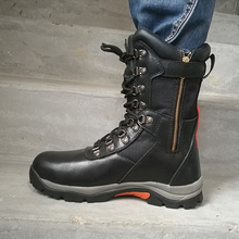 Men's black high cut oil resistant mining safety boot with steel plate CE S3