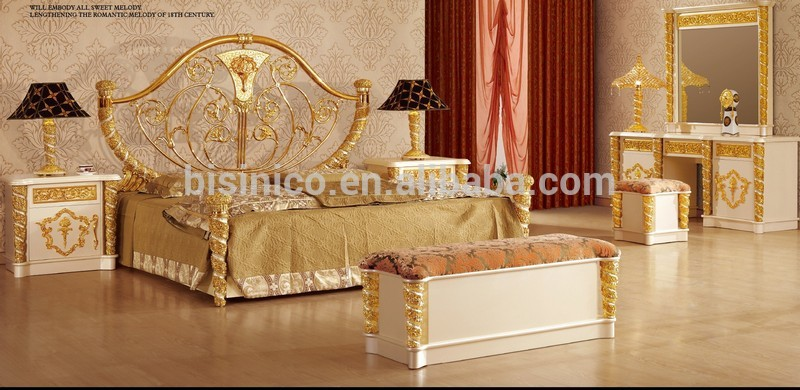 New Item- bedroom furniture, gold & white luxury bedroom set,MOQ:1PC(B6026)
