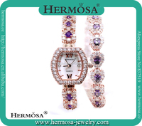 Fashion Hermosa Best Xmas Party Gift Women Watch International Wholesale Unique Double Band 18K Rose Gold Wristwatch HG0027W