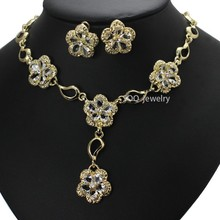 Cheap Bulk Jewelry Sets Crystal Floral Charm Necklace + 18K Gold Bohemia Earring & Wedding Rings