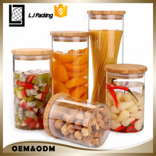 Wholesale glass candy jar crystal glass jar with wooden lid