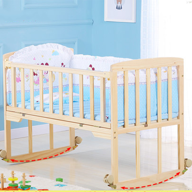 Adorable 102*60cm infant bed for baby/Mosquito Net baby cradle swing wood