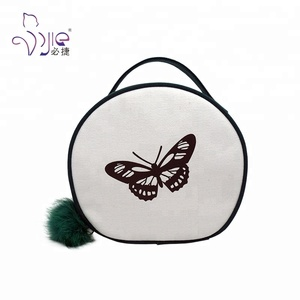 SGS Fashion Zipper Round Canvas Makeup Pouch