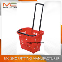 Supermarket Plastic Shopping Basket with Wheels
