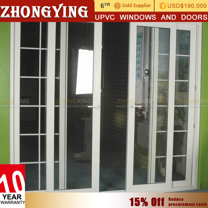 Interior house main gate fiber sliding glass grill design door