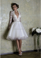 (MY0044) MARRY YOU Long Sleeve Deep V-neck Short Tea Length Wedding Dress Patterns