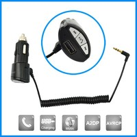 New hot-selling hands free bluetooth car kit with USB charging port, support AVRCP and A2DP