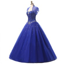 2018 Prom Dress Sweetheart Corset New Arrival Ball Gowns Blue Quinceanera Dresses with Bolero