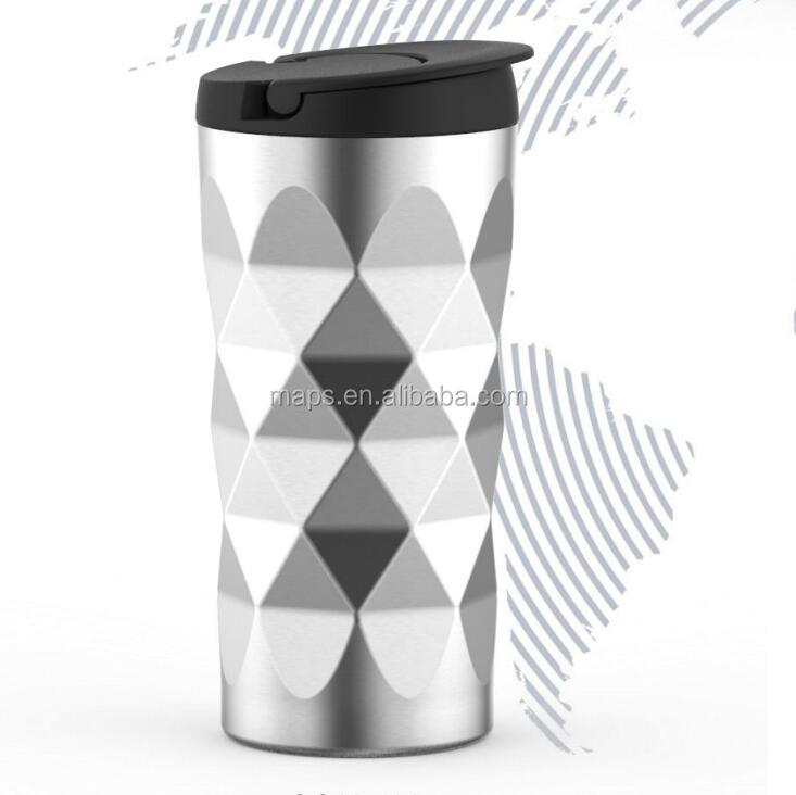 New design morden Diamond pattern double wall stainless steel vacuum thermos flask stainless steel tumbler
