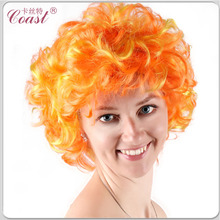 cheap orange color short curly bob style wigs