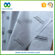White silk paper with black logo / black logo on white tissue paper / black tissue wrapping paper with white logo printed