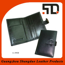 Multi-function Travel Wallet Blet Closing Black Leather Passport Case
