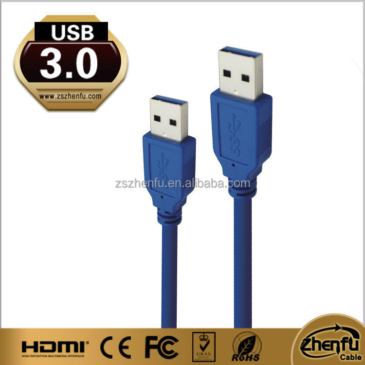 USB 3.0 A Male to A Male cable with blue cable