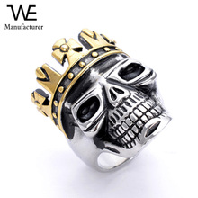 Unique Engagement Gothic Gold Crown Skull Rings for Men