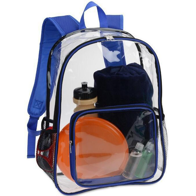 Heavy Duty Zip Eco Recycled Transparent PVC Kid Backpack School Bag