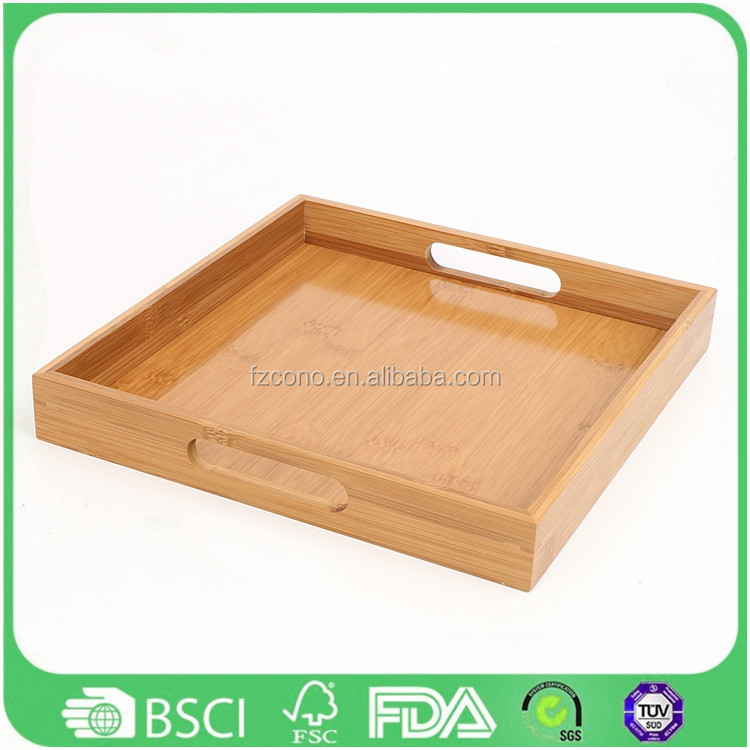 Eco-friendly Cushion Dinner restaurant serving tray wholesale Bamboo Fruit Serving Tray